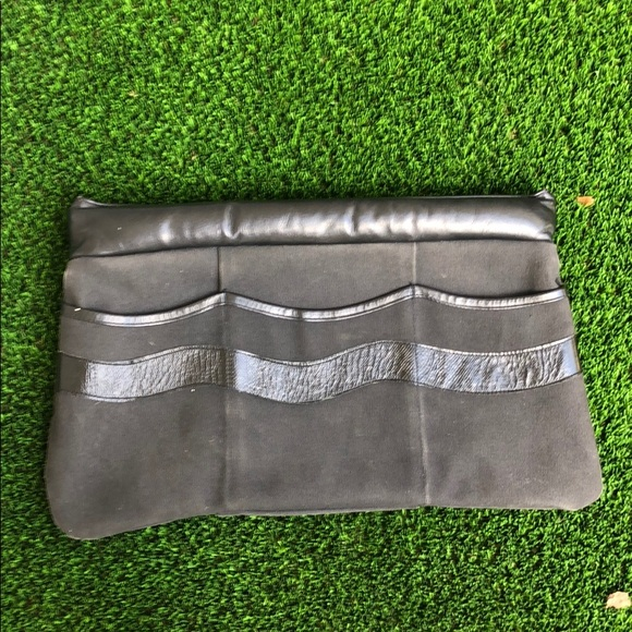 Vintage Timmy Woods black canvas & leather clutch
